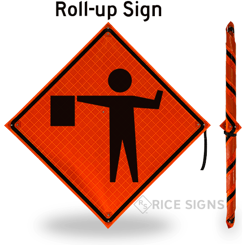 Flagger Ahead (symbol With Flag) Roll-Up Signs