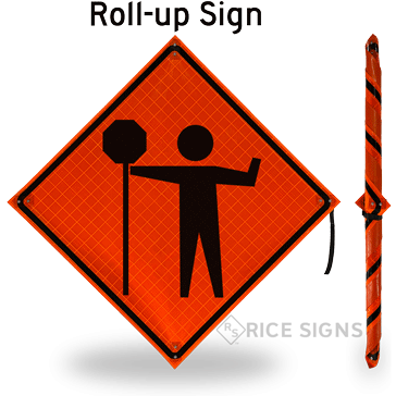 Flagger Ahead (symbol With Paddle) Roll-Up Signs